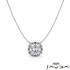 Double Prong Floating Cushion diamond  Pendant in 14k Gold White