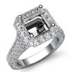 Diamond Engagement Asscher Semi Mount Halo Setting Ring 14k White Gold 2.1Ct - javda.com