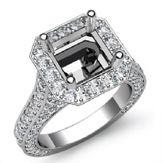 Diamond Engagement Asscher Semi Mount Halo Setting Ring 14k White Gold 2.1Ct