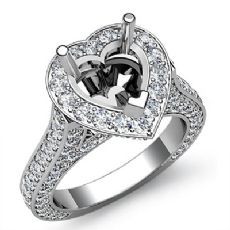 Heart Semi Mount Diamond Engagement Halo Pave Setting Ring 14k White Gold 2.1Ct