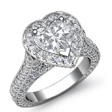 Side Stone Pave Set Halo Heart diamond engagement Ring in 14k Gold White