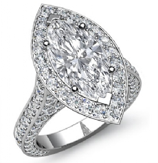 Pave Setting Halo Side Stone Marquise diamond engagement Ring in 14k Gold White