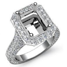 Diamond Engagement Halo Setting Ring Emerald Semi Mount 14k White Gold 2.1Ct