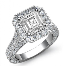 Asscher diamond  Ring in 14k Gold White