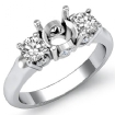 Round Diamond Three 3 Stone Engagement Semi Mount Ring Setting 14k White Gold 0.5Ct - javda.com