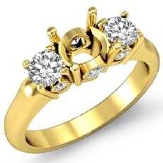 Round Diamond Three 3 Stone Engagement Semi Mount Ring Setting 18k Gold Yellow  (0.5Ct. tw.)