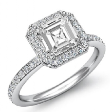 Petite Micropave Set Halo Asscher diamond engagement Ring in 14k Gold White