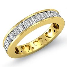 Channel Baguette Diamond Womens Half Wedding Heart Band Ring 18k Gold Yellow  (1Ct. tw.)