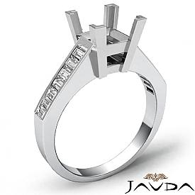 0.85Ct Baguette Channel Diamond Engagement Ring Setting 14K White Gold Semi Mount