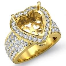 Halo Pave Setting Diamond Engagement Ring Heart Semi Mount 14k Gold Yellow (2Ct. tw.)