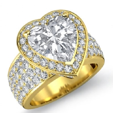 4 Row Shank Halo Pave Heart diamond engagement Ring in 18k Gold Yellow