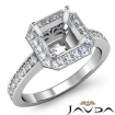Diamond Engagement Halo Pre-Set Ring Asscher Semi Mount 14k White Gold 0.37Ct - javda.com