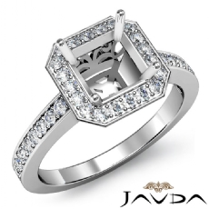 Diamond Engagement Halo Pre-Set Ring Asscher Semi Mount 14k White Gold 0.37Ct