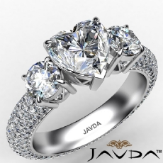 Heart diamond engagement Ring in 14k Gold White