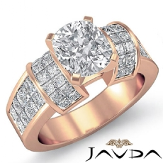 Invisible Set 4 Prong Peg Head Cushion diamond engagement Ring in 14k Rose Gold