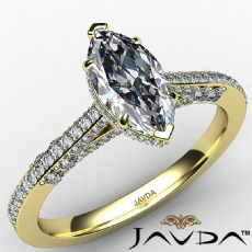 Crow Halo Micropave Bridge Marquise diamond  Ring in 14k Gold Yellow