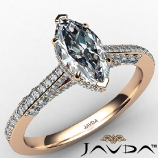 Crow Halo Micropave Bridge Marquise diamond  Ring in 18k Rose Gold