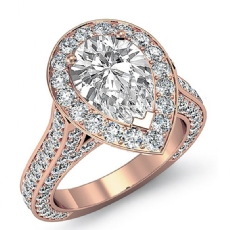 Halo Micro Pave Bridge Accent Pear diamond engagement Ring in 18k Rose Gold