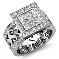 Halo Bezel Set Filigree Shank Princess diamond engagement Ring in 14k Gold White