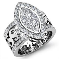 Halo Bezel Set Filigree Shank Marquise diamond engagement Ring in 14k Gold White