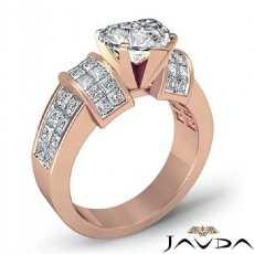 Invisible Set 4 Prong Peg Head Heart diamond engagement Ring in 14k Rose Gold