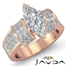 Invisible Set 4 Prong Peg Head Marquise diamond engagement Ring in 18k Rose Gold