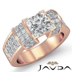 Invisible Set 4 Prong Peg Head diamond Ring 14k Rose Gold