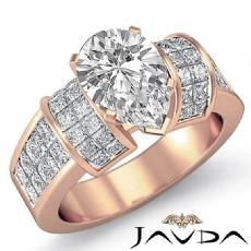 Invisible Set 4 Prong Peg Head diamond Ring 18k Rose Gold