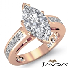 Channel-Set 4 Prong Peg Head Marquise diamond engagement Ring in 18k Rose Gold