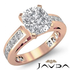 Channel-Set 4 Prong Peg Head Cushion diamond engagement Ring in 14k Rose Gold