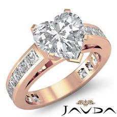 Channel-Set 4 Prong Peg Head diamond Ring 14k Rose Gold
