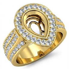 Diamond Engagement Ring Pear Semi Mount 14k Gold Yellow Halo Pave Setting  (1.65Ct. tw.)