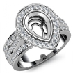 Diamond Engagement Ring Pear Semi Mount 14k White Gold Halo Pave Setting 1.65Ct - javda.com