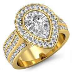 Halo Bezel 3 Row Shank Pear diamond engagement Ring in 18k Gold Yellow
