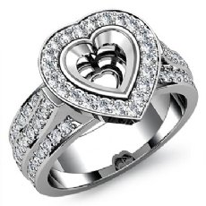 Diamond Engagement Ring Heart Semi Mount 14K White Gold Halo Pave Setting 1.65Ct