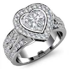 Bezel Set Halo 3 Row Shank Heart diamond engagement Ring in 14k Gold White