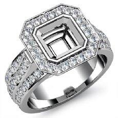 Diamond Engagement Ring Asscher Semi Mount 14K White Gold Halo Setting 1.65Ct