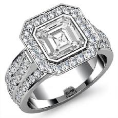 3 Row Shank Halo Bezel Asscher diamond engagement Ring in 14k Gold White