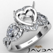 Three 3 Stone Heart Shape Semi Mount Engagement Ring 14k White Gold 1.5Ct - javda.com