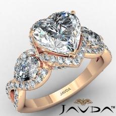 3 Stone Halo Micro Pave Set diamond Ring 14k Rose Gold