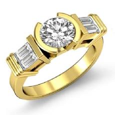 Baguette 3 Stone Semi Bezel Round diamond engagement Ring in 14k Gold Yellow