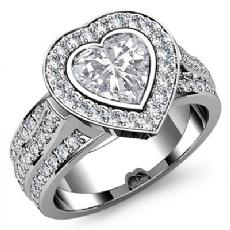3 Row Shank Bezel Halo Heart diamond engagement Ring in 14k Gold White
