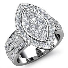 3 Row Shank Bezel Halo Marquise diamond engagement Ring in 14k Gold White