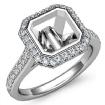 Diamond Engagement Ring 14k White Gold Asscher Semi Mount Halo Setting 0.8Ct - javda.com