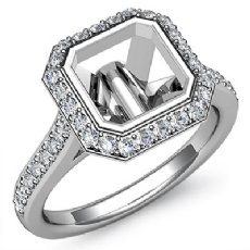Diamond Engagement Ring 14k White Gold Asscher Semi Mount Halo Setting 0.80Ct