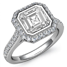 Halo Pave Bezel Sidestone Asscher diamond engagement Ring in 14k Gold White