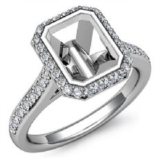 Diamond Engagement Ring 14k White Gold Emerald Semi Mount Halo Setting 0.80Ct