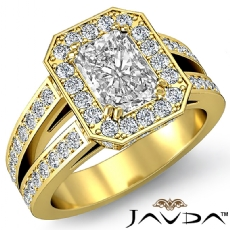 Double Prong Halo Sidestone Radiant diamond engagement Ring in 18k Gold Yellow
