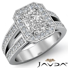 Double Prong Halo Sidestone Radiant diamond engagement Ring in 14k Gold White