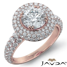 3 Row Halo Micro Pave Filigree Round diamond engagement Ring in 18k Rose Gold